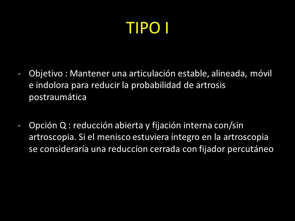 TIPO IObjetivo : Mantener una articulación estable, alineada, móvil e indolora para reducir la probabilidad de artrosis postraumática.