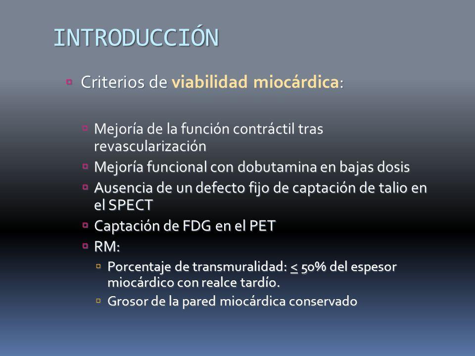 INTRODUCCIÓN Criterios de viabilidad miocárdica: