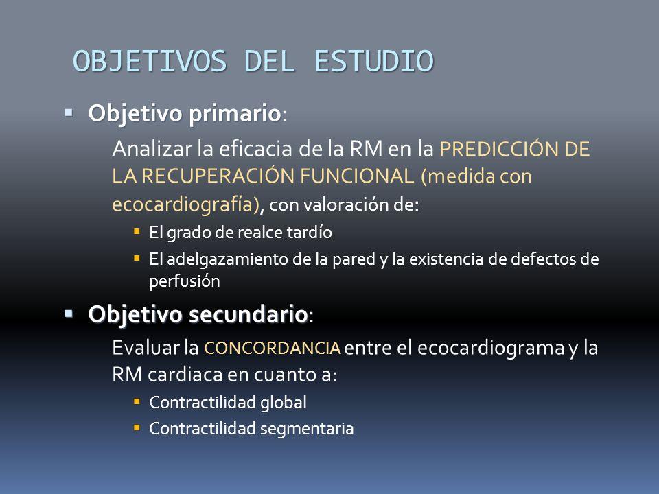 OBJETIVOS DEL ESTUDIO Objetivo primario: Objetivo secundario: