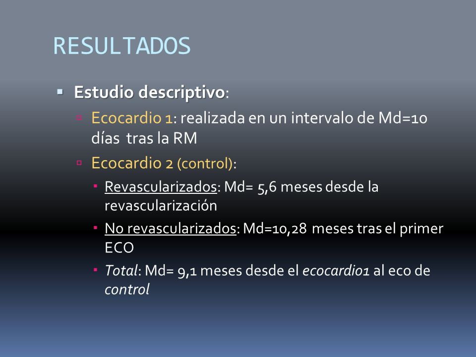 RESULTADOS Estudio descriptivo: