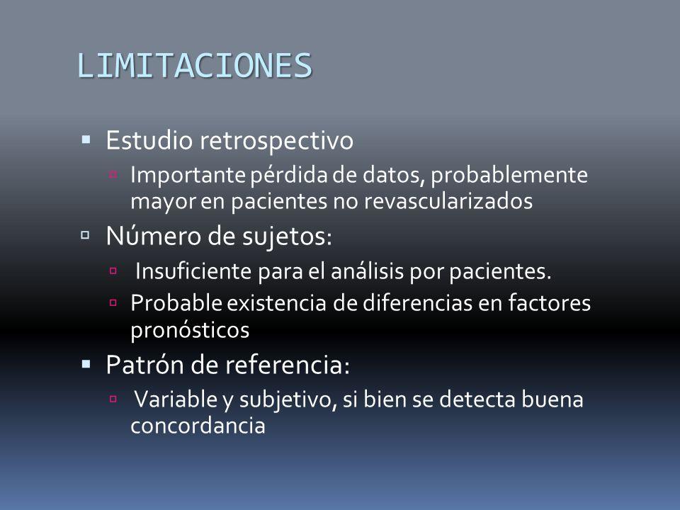 LIMITACIONES Estudio retrospectivo Número de sujetos: