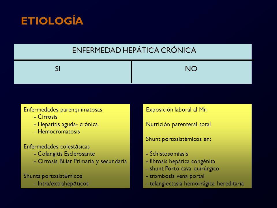 ETIOLOGÍA ENFERMEDAD HEPÁTICA CRÓNICA SI NO