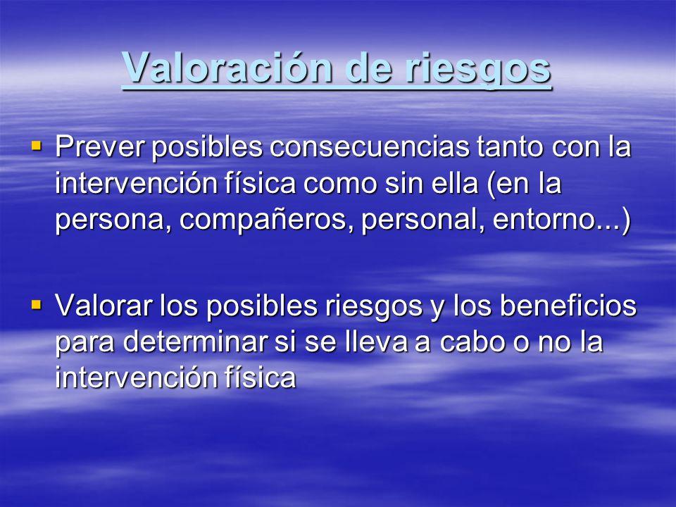 Valoración de riesgos Prever posibles consecuencias tanto con la intervención física como sin ella (en la persona, compañeros, personal, entorno...)