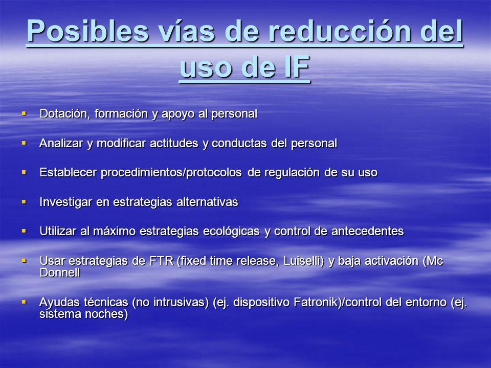 Posibles vías de reducción del uso de IF