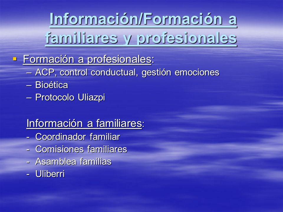 Información/Formación a familiares y profesionales