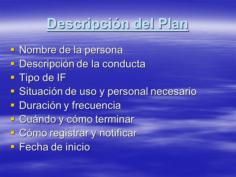 Descripción del Plan Nombre de la persona Descripción de la conducta