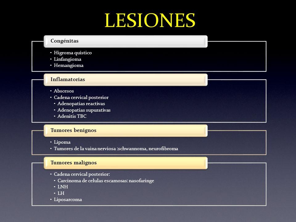 LESIONES Higroma quístico Linfangioma Hemangioma Abscesos