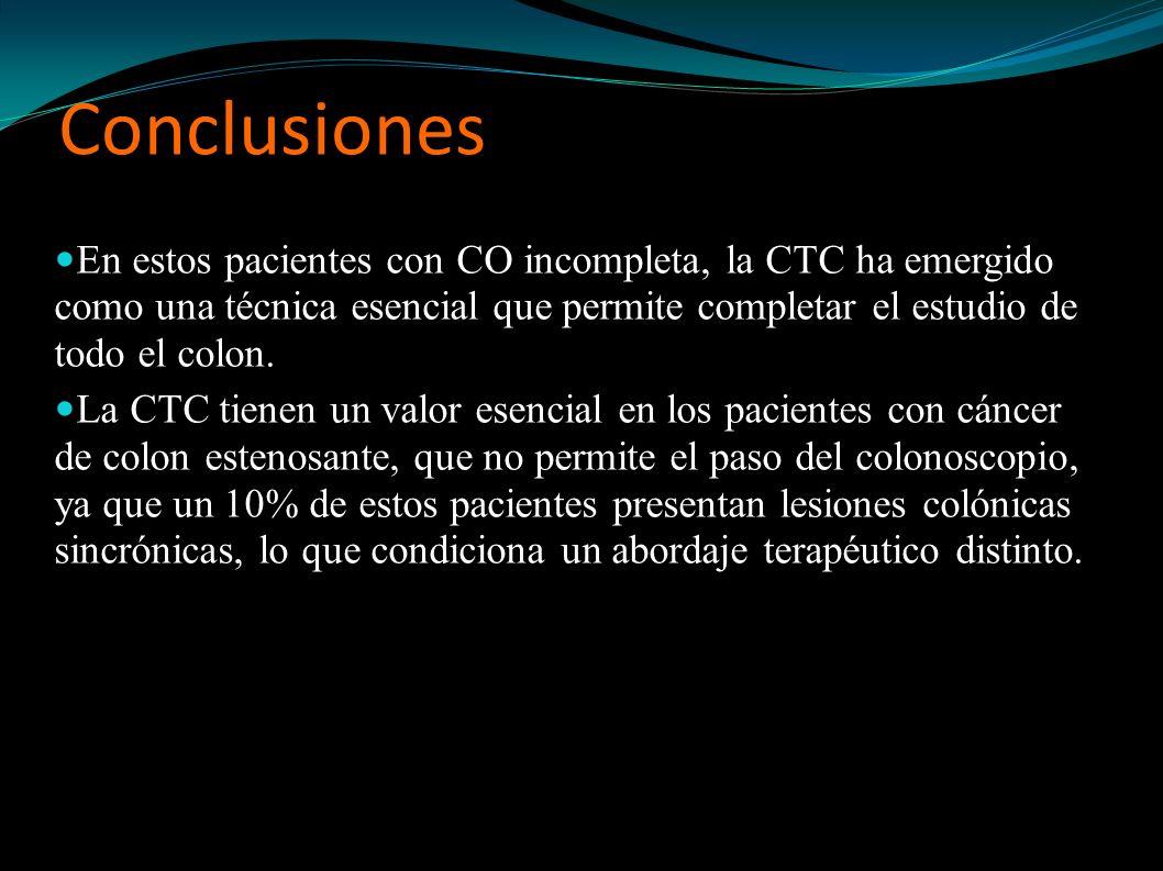 Conclusiones En estos pacientes con CO incompleta, la CTC ha emergido como una técnica esencial que permite completar el estudio de todo el colon.