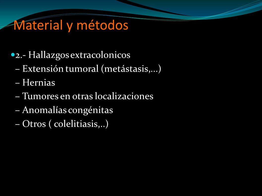 Material y métodos 2.- Hallazgos extracolonicos