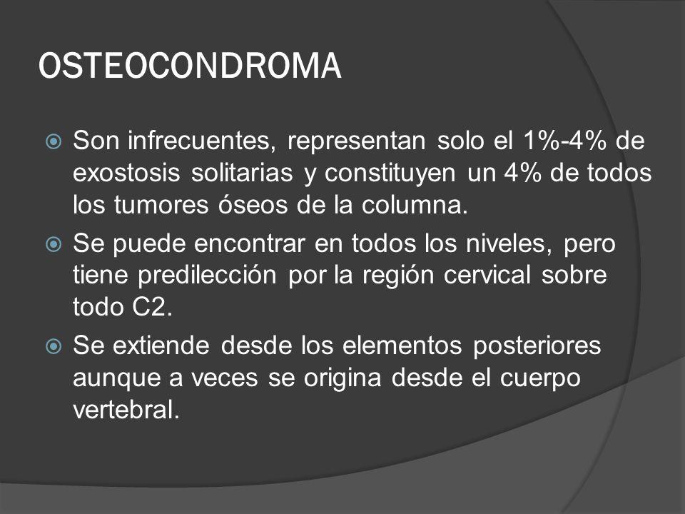 OSTEOCONDROMA Son infrecuentes, representan solo el 1%-4% de exostosis solitarias y constituyen un 4% de todos los tumores óseos de la columna.