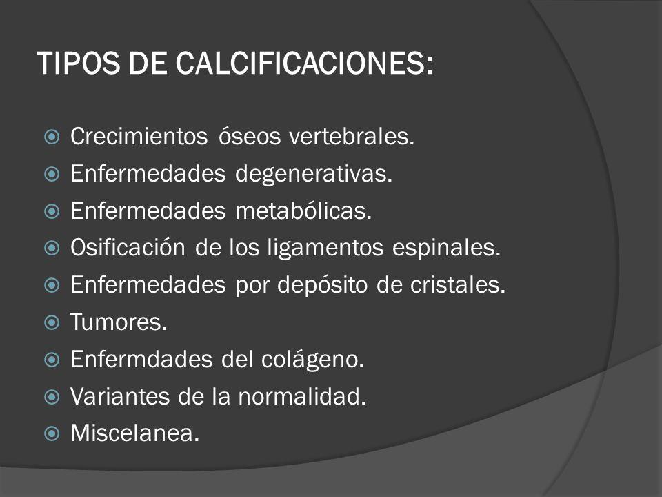 TIPOS DE CALCIFICACIONES: