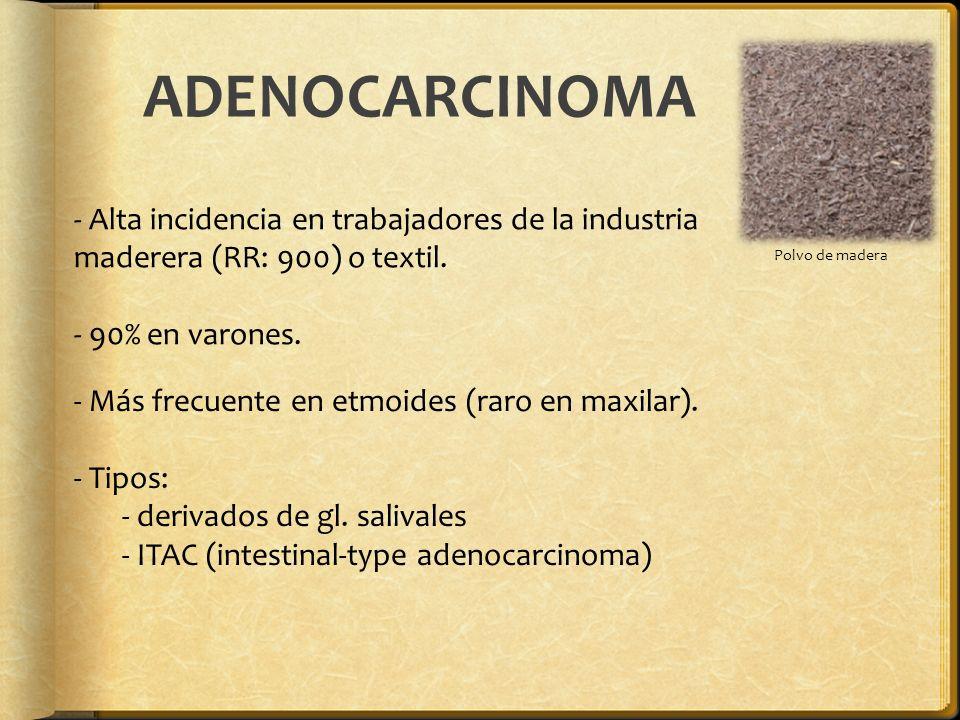 ADENOCARCINOMA Polvo de madera. Alta incidencia en trabajadores de la industria maderera (RR: 900) o textil.