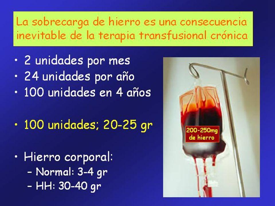 La sobrecarga de hierro es una complicación inevitable de la terapia transfusional crónica y constituye la principal causa de morbi-mortalidad en los pacientes trasfusión dependientes, lo que obliga a la instauración de un tratamiento quelante
