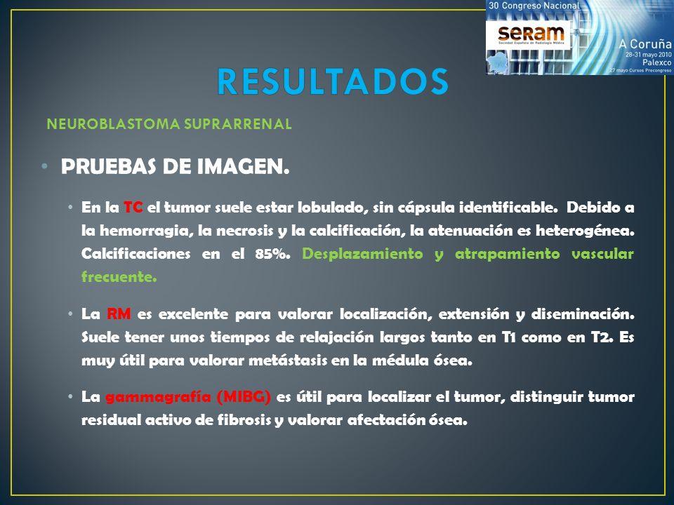 RESULTADOS PRUEBAS DE IMAGEN. NEUROBLASTOMA SUPRARRENAL