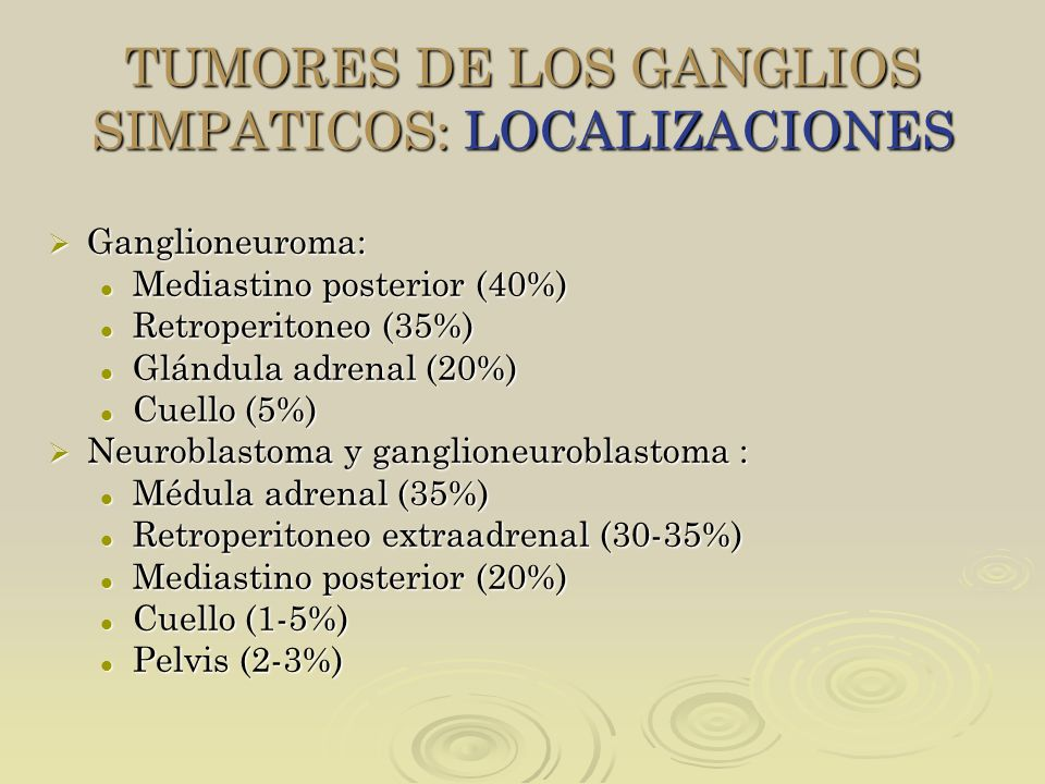 TUMORES DE LOS GANGLIOS SIMPATICOS: LOCALIZACIONES