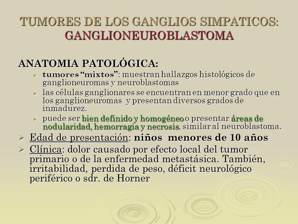TUMORES DE LOS GANGLIOS SIMPATICOS: GANGLIONEUROBLASTOMA