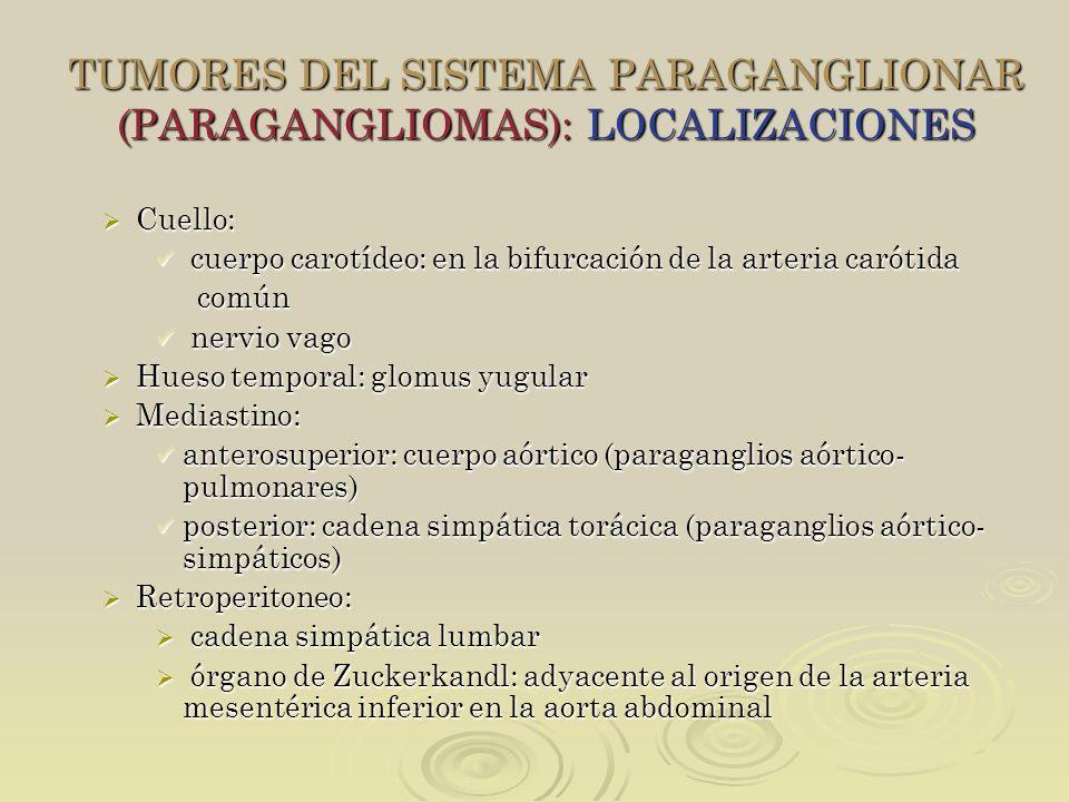 TUMORES DEL SISTEMA PARAGANGLIONAR (PARAGANGLIOMAS): LOCALIZACIONES