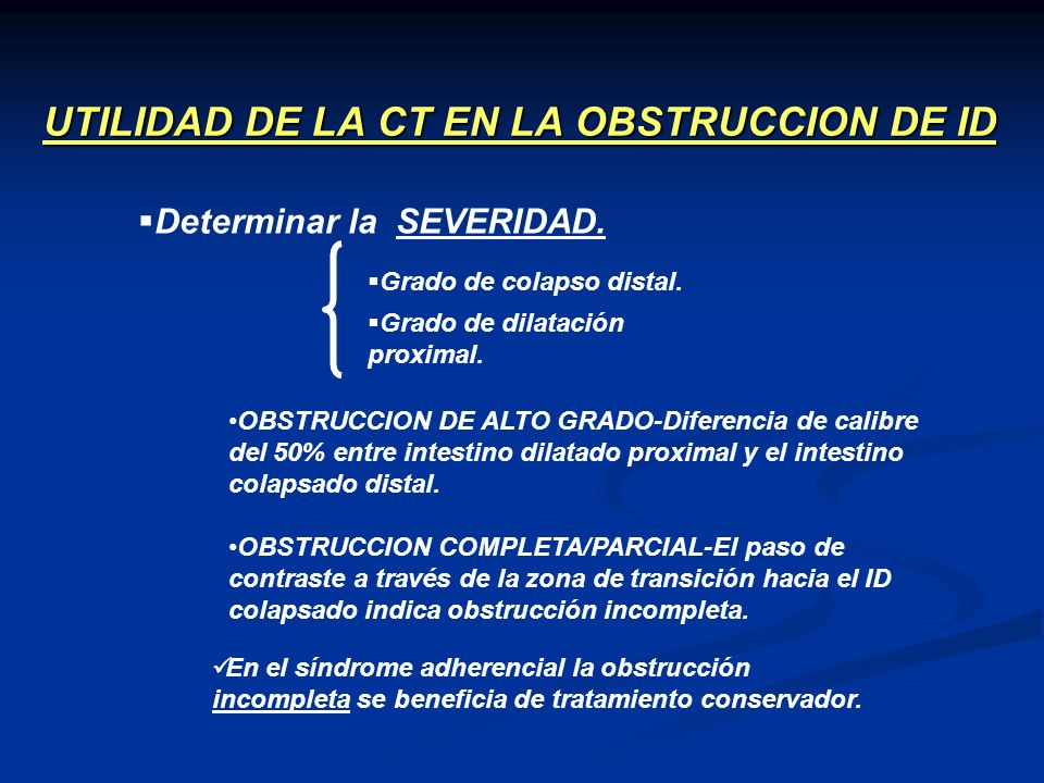 UTILIDAD DE LA CT EN LA OBSTRUCCION DE ID