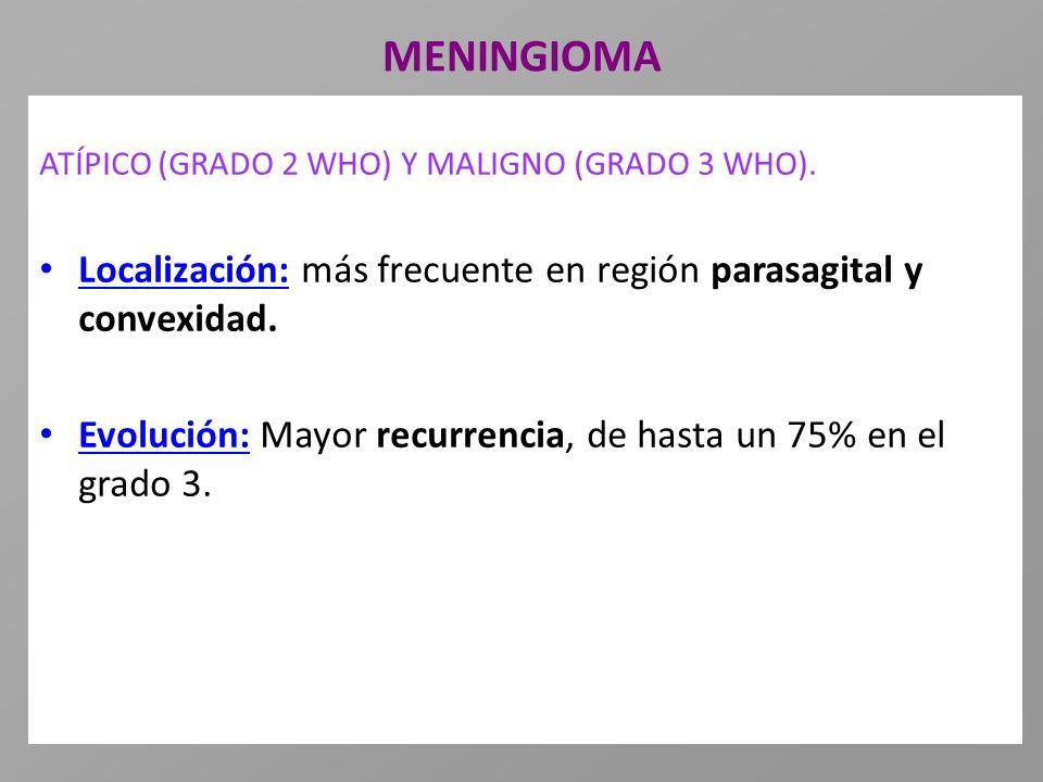 MENINGIOMA ATÍPICO (GRADO 2 WHO) Y MALIGNO (GRADO 3 WHO). Localización: más frecuente en región parasagital y convexidad.