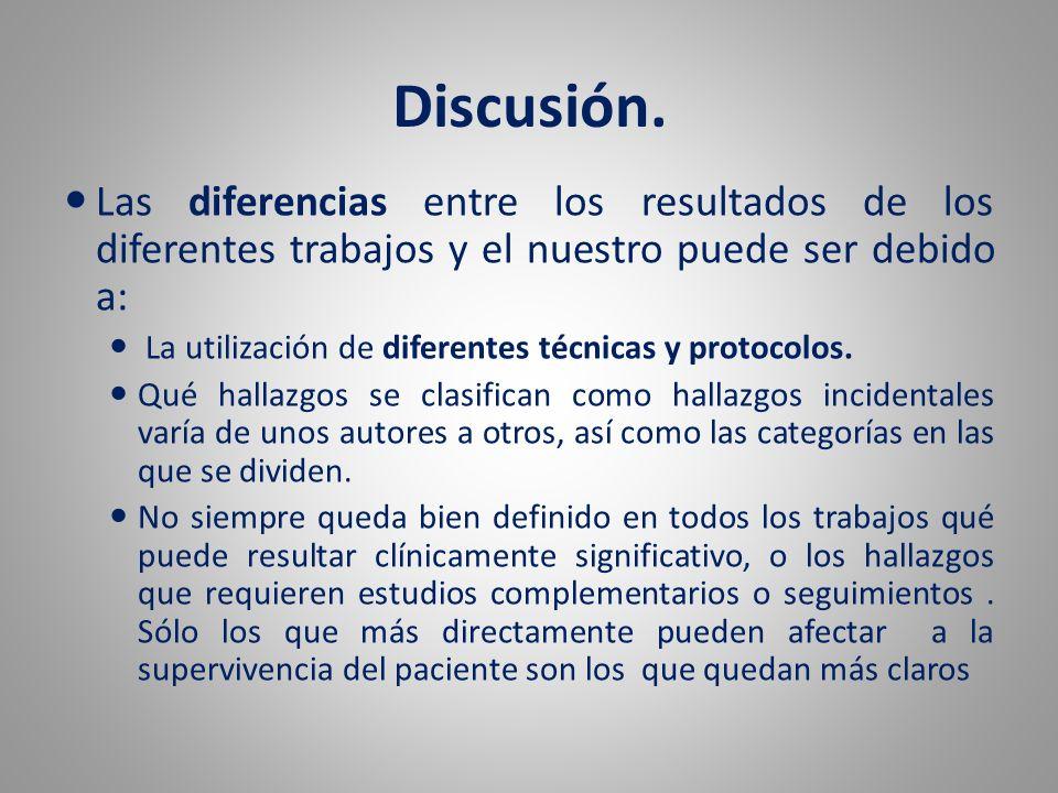 Discusión. Las diferencias entre los resultados de los diferentes trabajos y el nuestro puede ser debido a: