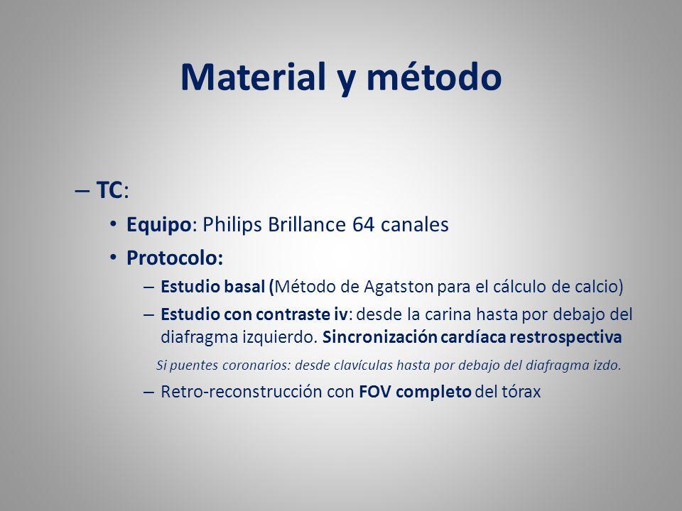 Material y método TC: Equipo: Philips Brillance 64 canales Protocolo: