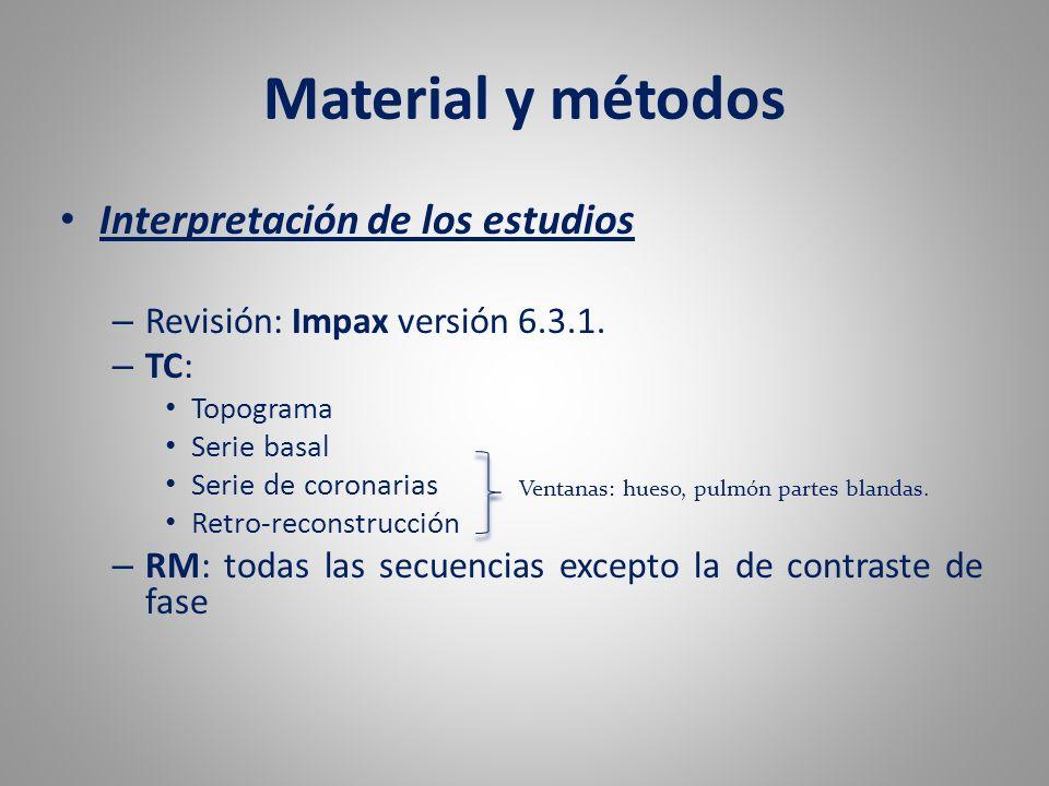 Material y métodos Interpretación de los estudios
