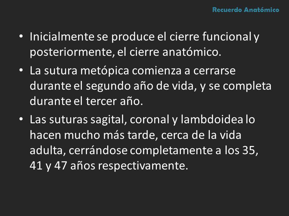 Recuerdo Anatómico Inicialmente se produce el cierre funcional y posteriormente, el cierre anatómico.