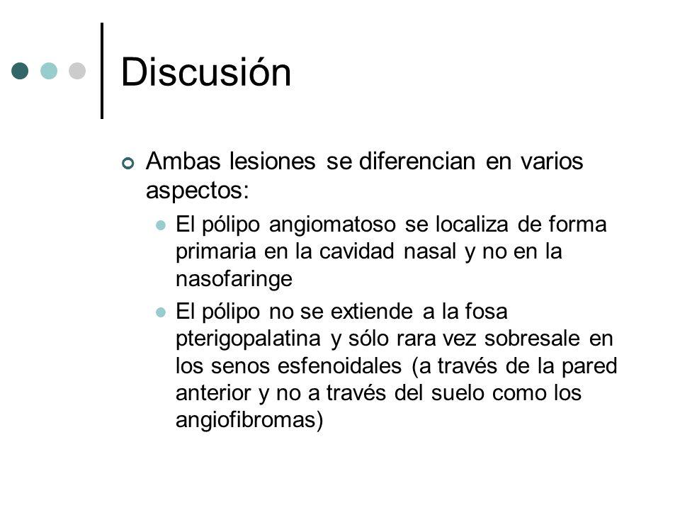 Discusión Ambas lesiones se diferencian en varios aspectos: