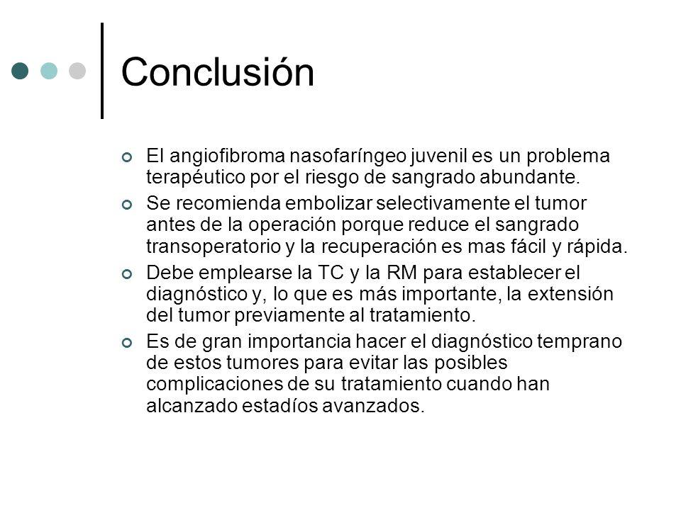 ConclusiónEl angiofibroma nasofaríngeo juvenil es un problema terapéutico por el riesgo de sangrado abundante.