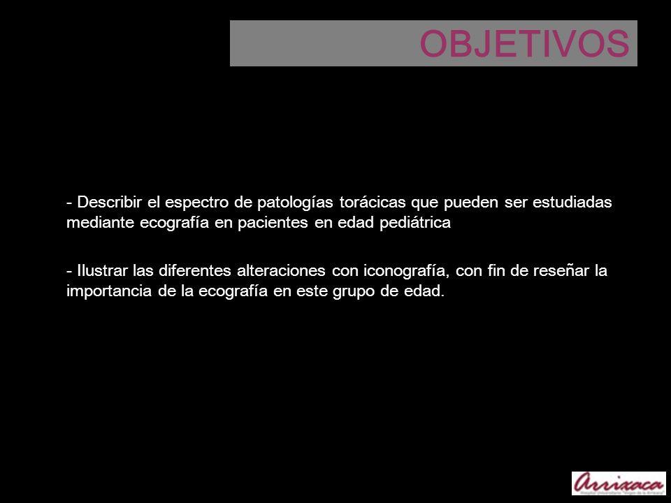 OBJETIVOS- Describir el espectro de patologías torácicas que pueden ser estudiadas mediante ecografía en pacientes en edad pediátrica.