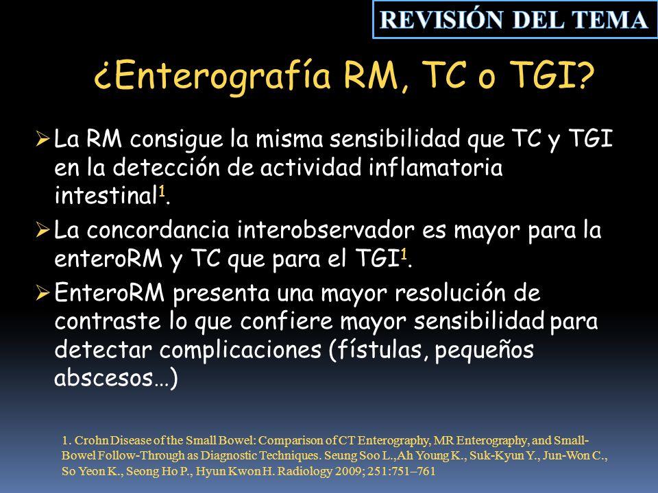 ¿Enterografía RM, TC o TGI