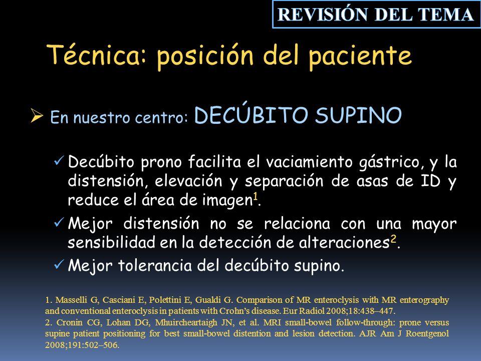 Técnica: posición del paciente