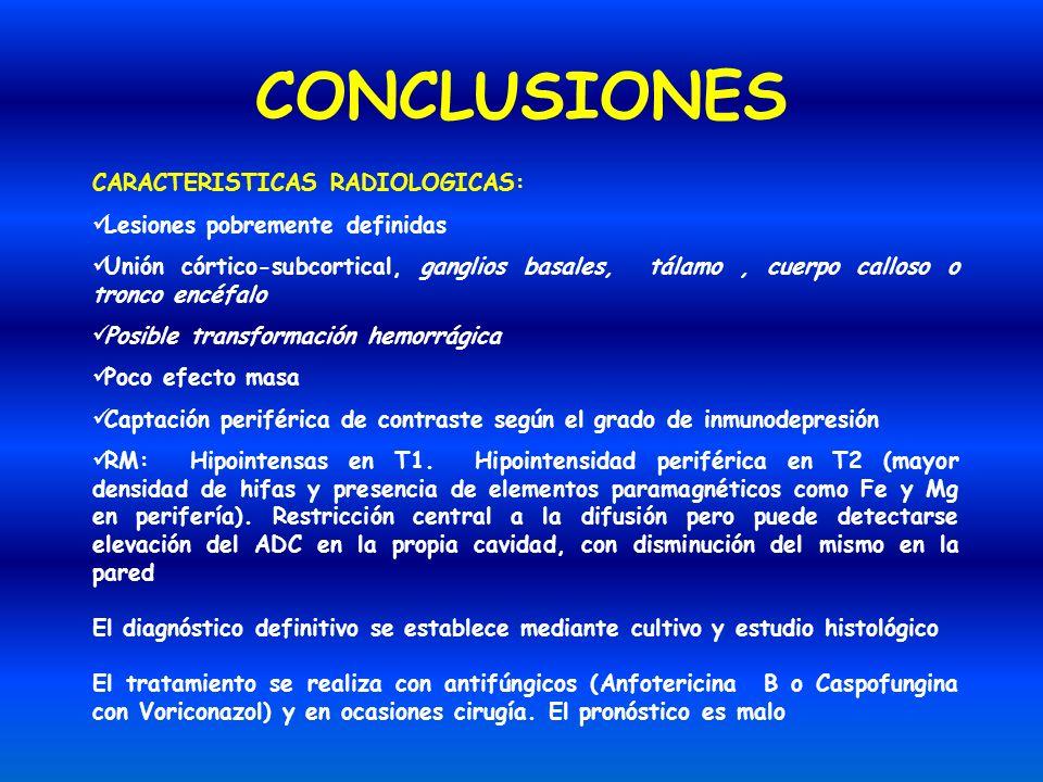 CONCLUSIONES CARACTERISTICAS RADIOLOGICAS: