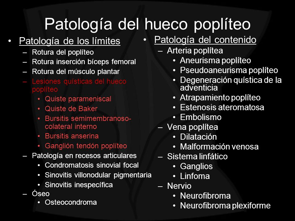 Patología del hueco poplíteo