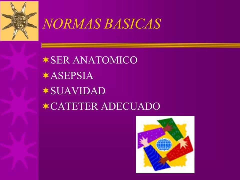 NORMAS BASICAS SER ANATOMICO ASEPSIA SUAVIDAD CATETER ADECUADO