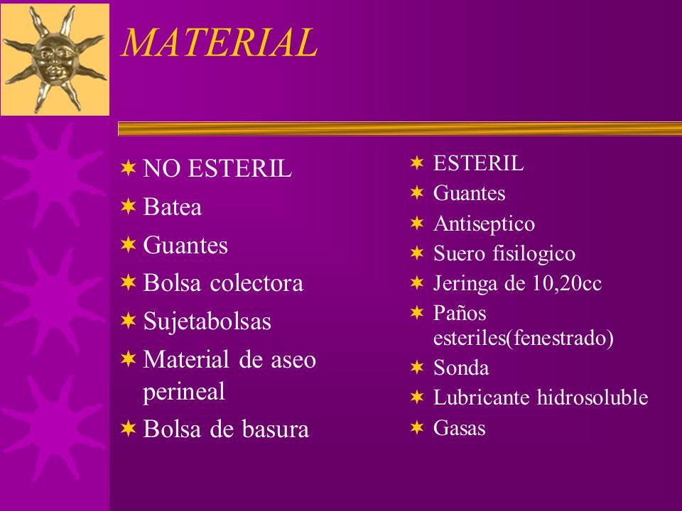 MATERIAL NO ESTERIL Batea Guantes Bolsa colectora Sujetabolsas
