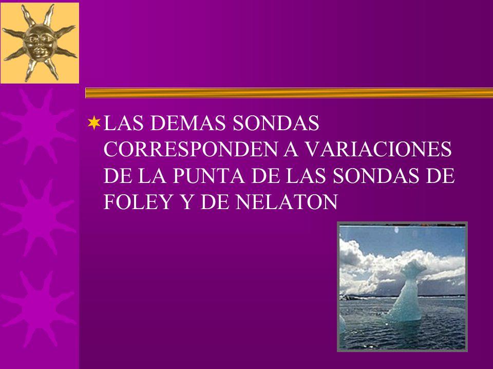 LAS DEMAS SONDAS CORRESPONDEN A VARIACIONES DE LA PUNTA DE LAS SONDAS DE FOLEY Y DE NELATON