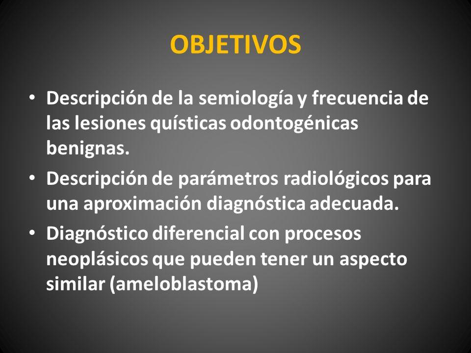 OBJETIVOS Descripción de la semiología y frecuencia de las lesiones quísticas odontogénicas benignas.