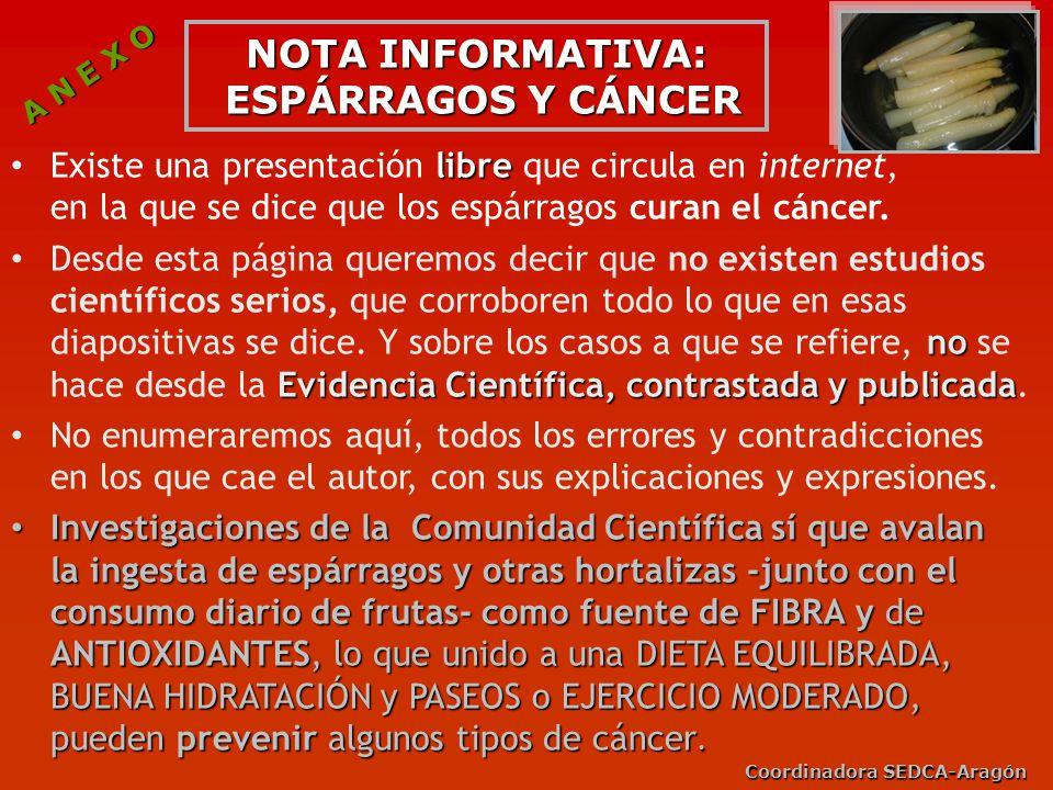 NOTA INFORMATIVA: ESPÁRRAGOS Y CÁNCER