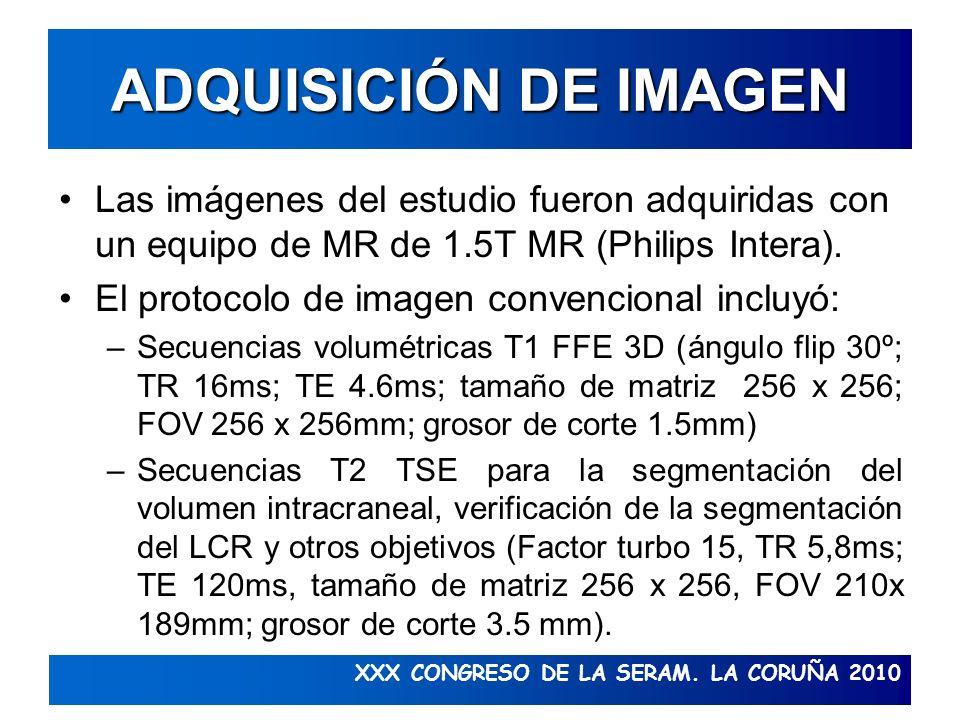 ADQUISICIÓN DE IMAGEN Las imágenes del estudio fueron adquiridas con un equipo de MR de 1.5T MR (Philips Intera).