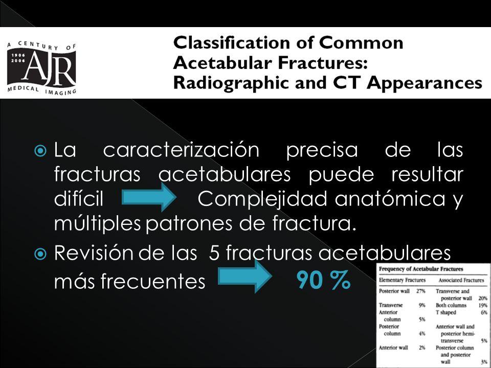 La caracterización precisa de las fracturas acetabulares puede resultar difícil Complejidad anatómica y múltiples patrones de fractura.