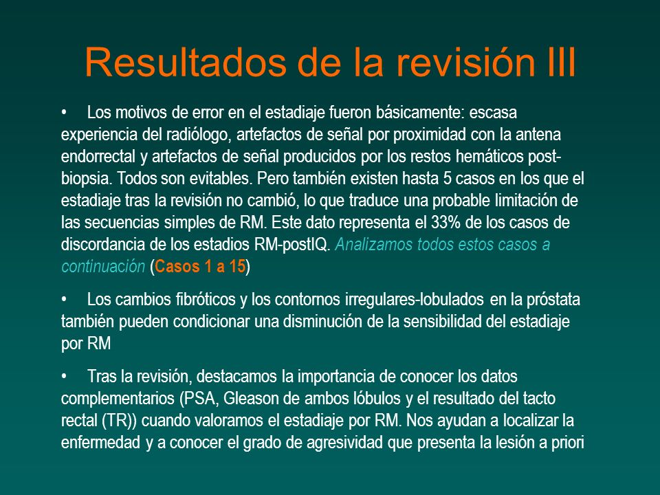 Resultados de la revisión III
