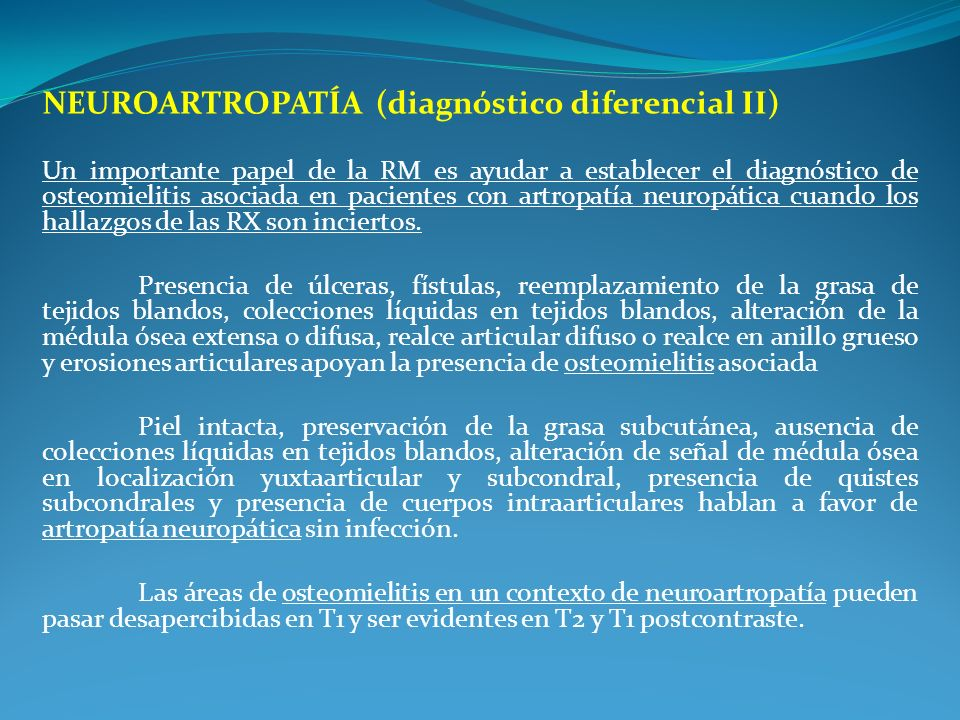 NEUROARTROPATÍA (diagnóstico diferencial II)