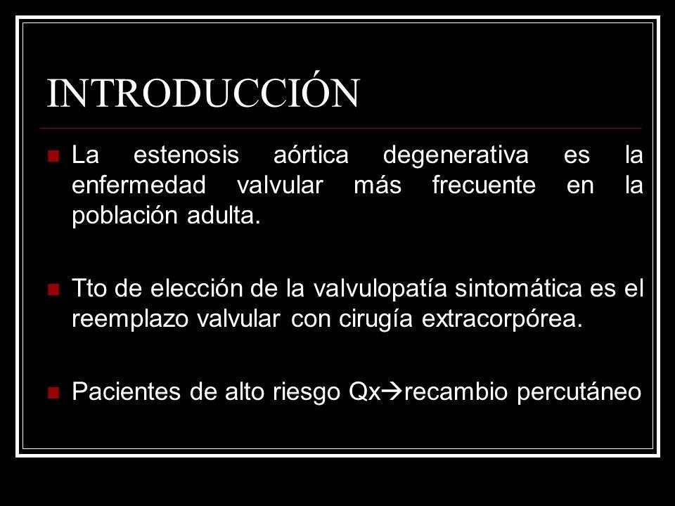 INTRODUCCIÓN La estenosis aórtica degenerativa es la enfermedad valvular más frecuente en la población adulta.