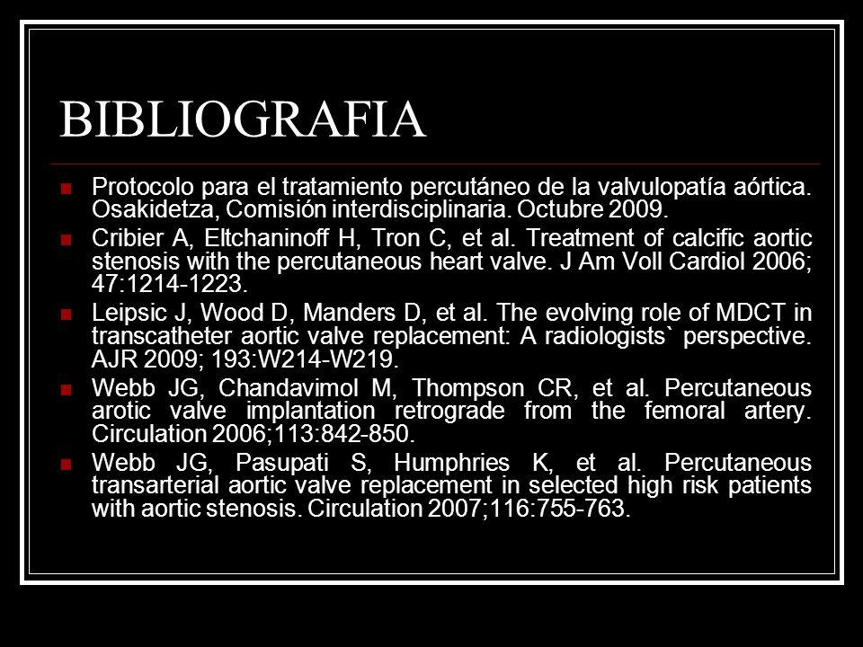 BIBLIOGRAFIA Protocolo para el tratamiento percutáneo de la valvulopatía aórtica. Osakidetza, Comisión interdisciplinaria. Octubre 2009.