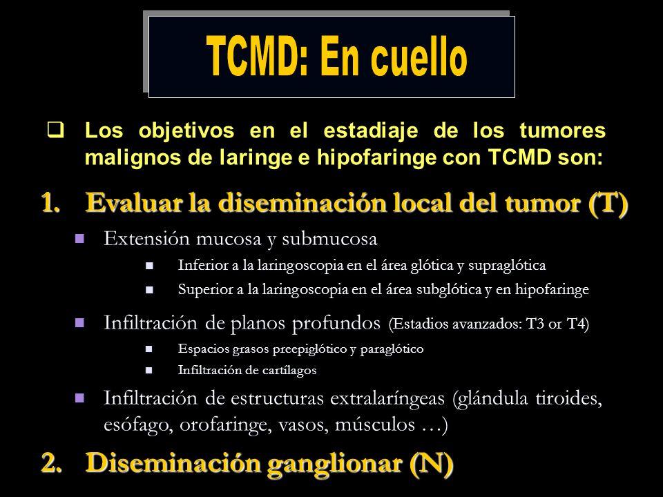 TCMD: En cuello Evaluar la diseminación local del tumor (T)