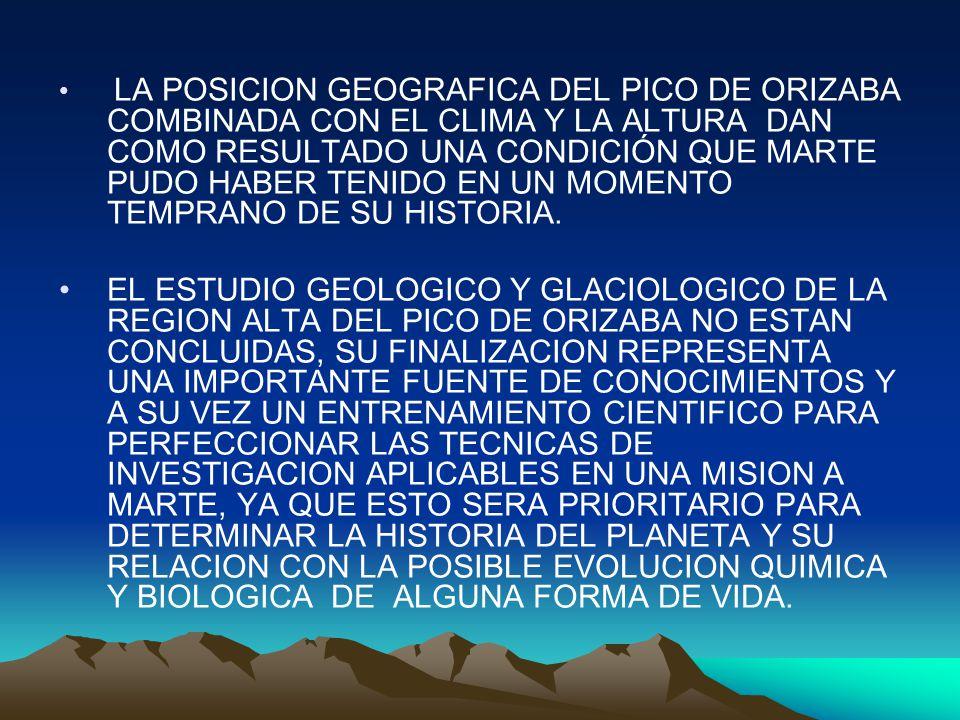 LA POSICION GEOGRAFICA DEL PICO DE ORIZABA COMBINADA CON EL CLIMA Y LA ALTURA DAN COMO RESULTADO UNA CONDICIÓN QUE MARTE PUDO HABER TENIDO EN UN MOMENTO TEMPRANO DE SU HISTORIA.