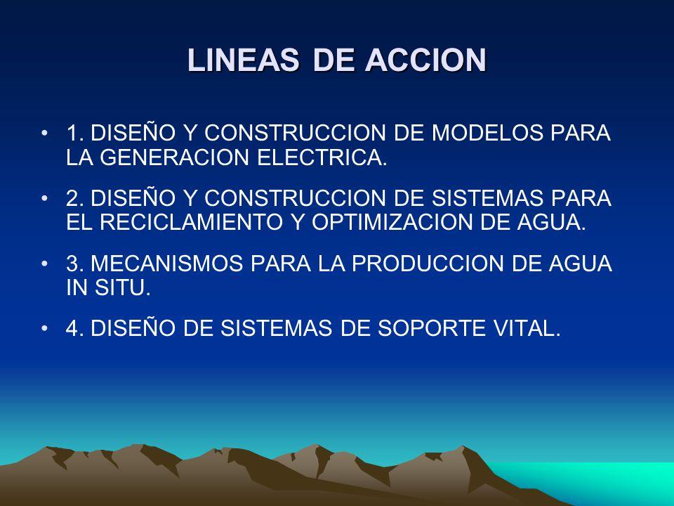 LINEAS DE ACCION 1. DISEÑO Y CONSTRUCCION DE MODELOS PARA LA GENERACION ELECTRICA.