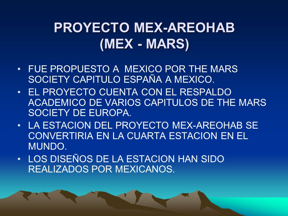 PROYECTO MEX-AREOHAB (MEX - MARS)