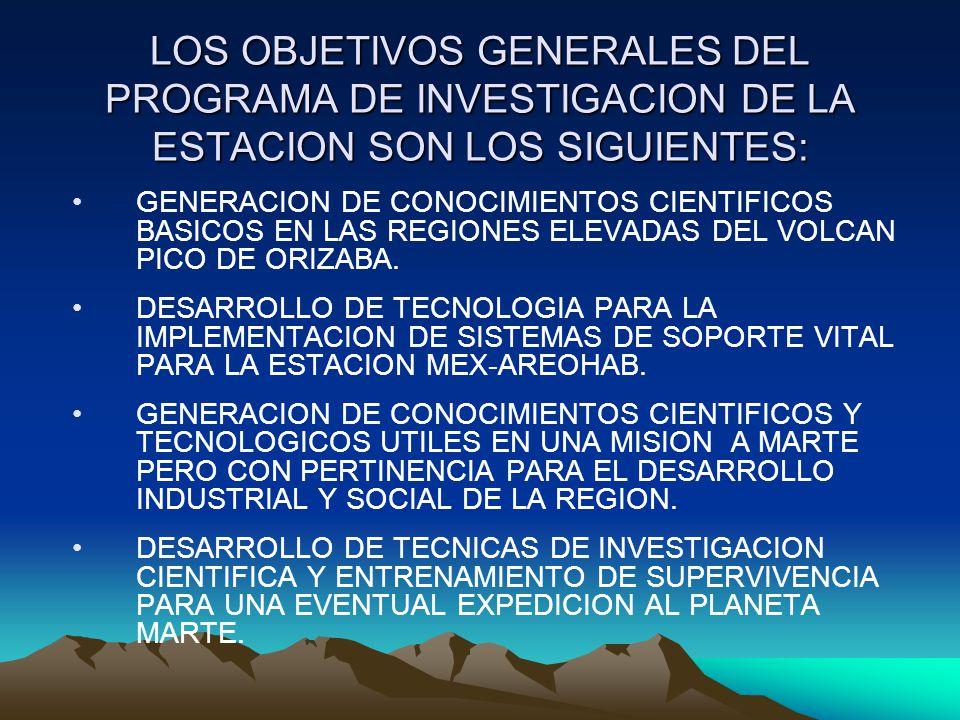 LOS OBJETIVOS GENERALES DEL PROGRAMA DE INVESTIGACION DE LA ESTACION SON LOS SIGUIENTES: